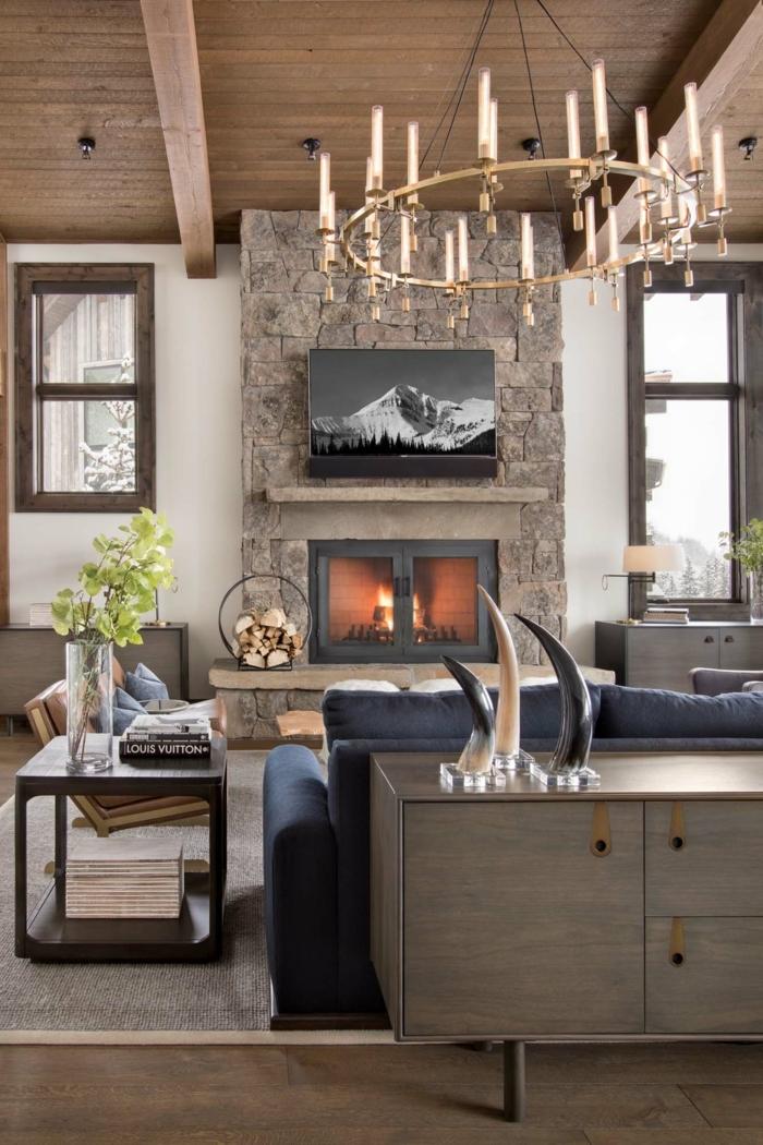 ejemplos de salones rusticos modernos, tendencias en la decoracion de interiores 2018, elementos decorativos vintage y muebles modernos