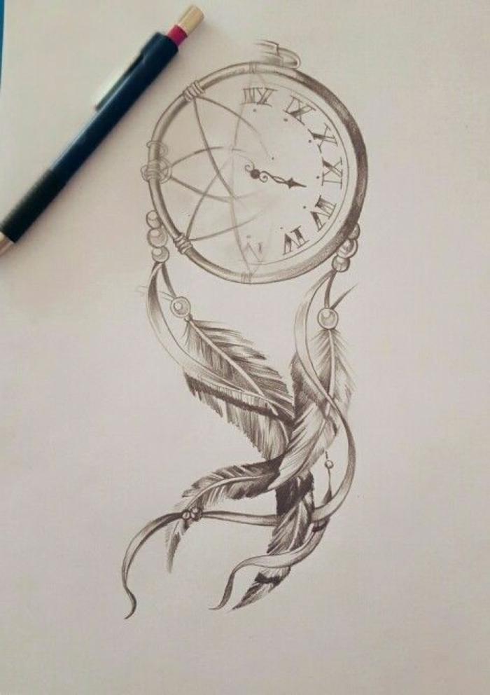 dibujo atrapasueños, tatuaje pluma de encanto, ideas otiginales de tatuajes modernos 2018