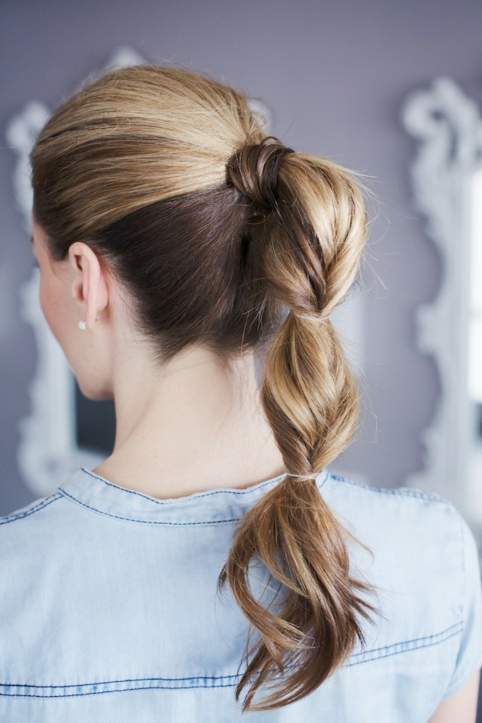 coleta de burbujas fácil de hacer, peinados faciles pelo largo paso a paso, tendencias peinados mujer 2018
