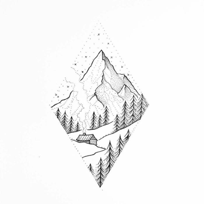 propuestas de hermosos diseños de tatuajes pequeños en la nuca, tatuajes detras de la oreja, paisaje de montaña