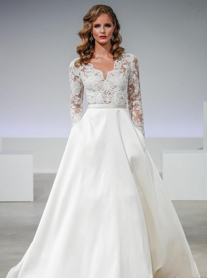 diseño encantador con amplia falda con bolsillos y parte superior de encaje con tul transparente, propuestas de vestidos de novia baratos