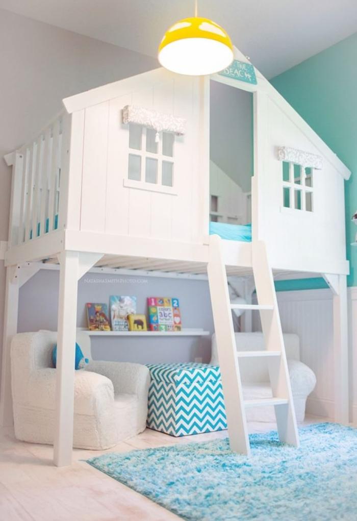 como decorar un dormitorio infantil de manera original, decoracion habitacion bebe en blanco, azul y verde