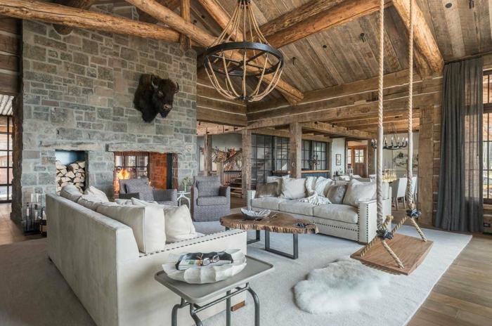ideas de salones rústicos modernos. combinacion de muebles de diseño modernos con decoracion rústica