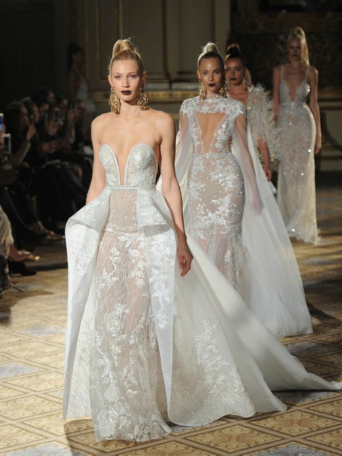modelos modernos de vestidos de novia princesa, encaje con lentejuelas y apliques de flores, diseños originales y modernos