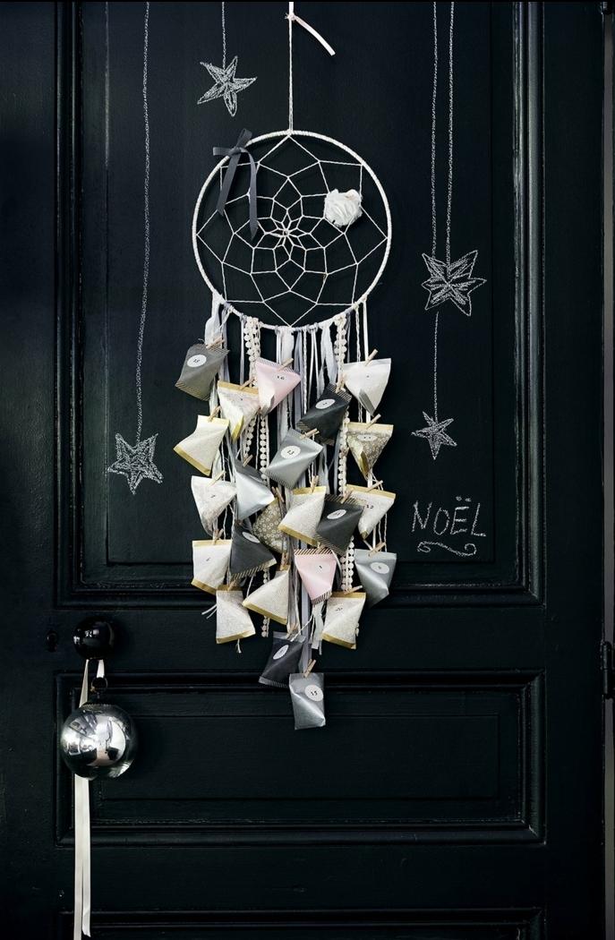 manualidades de navidad originales, como hacer atrapasueños navideño, calendario de adviento paso a paso