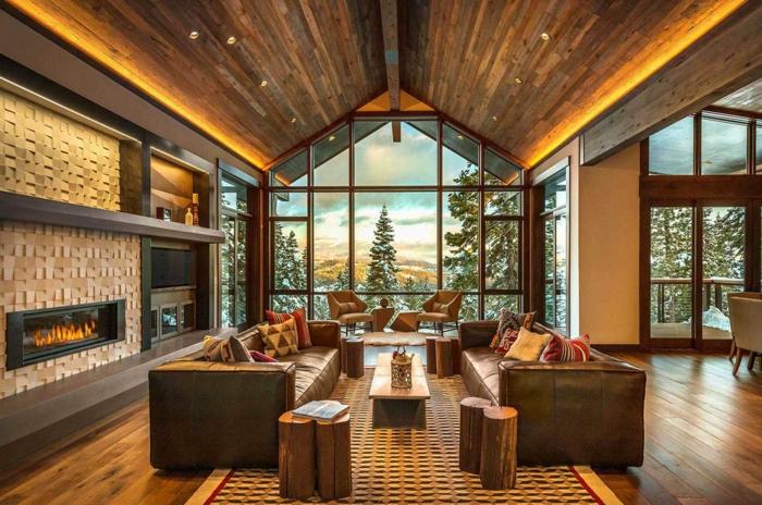 salones rústicos con bonita vista, decoracion acogedora en colores calidos, salones rústicos modernos