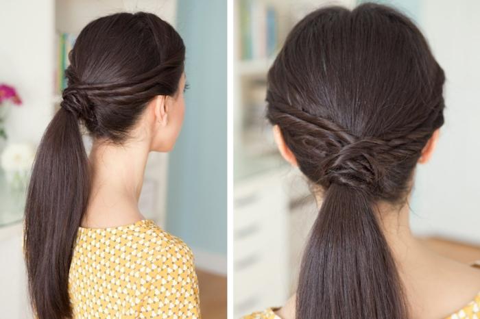 interesante propuesta de recogidos para cabello largo, pelo castaño liso en coleta baja con pequeñas trenzas