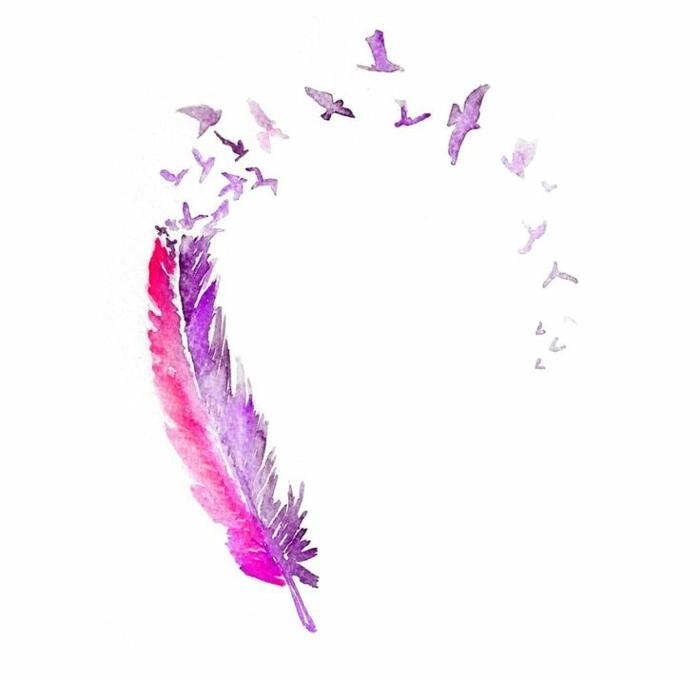 diseño de tatuaje original y bonito, pluma en rojo y lila descomponiendose en aves en pleno vuelo, diseños de tatuajes originales