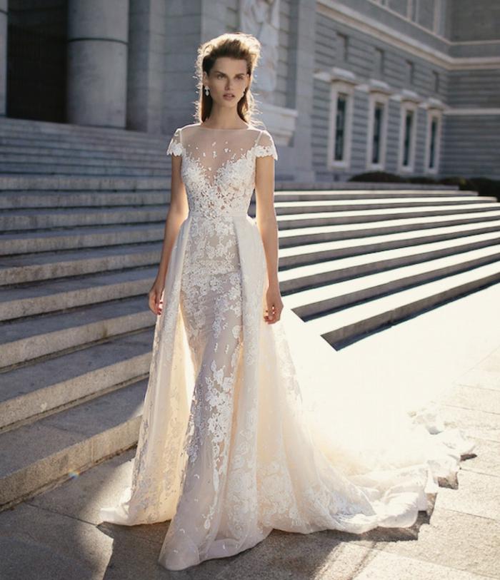 vestido novia informal desmontable con doble falda, vestido de color champán con parte superior de tul y bordado