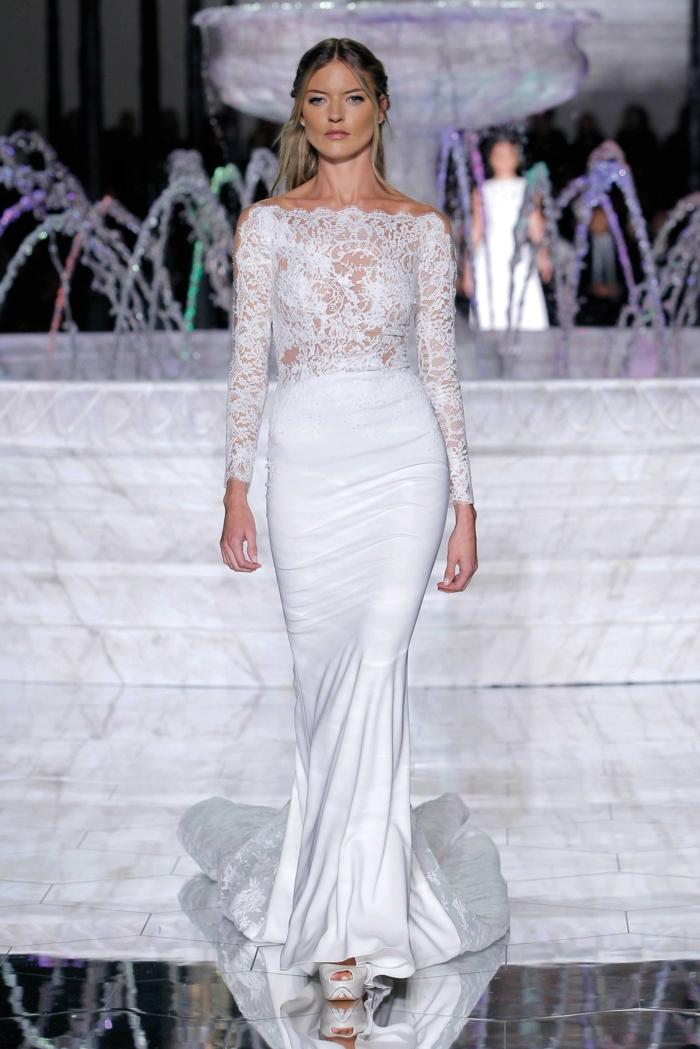 preciosa propuesta vestido de novia sencillo en blanco nuclear con parte superior de encaje y mangas largas, diseños de vestidos de novia informales