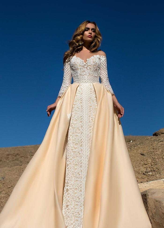 modelo de encanto en color champán y blanco perla, vestido novia romantico con doble falda
