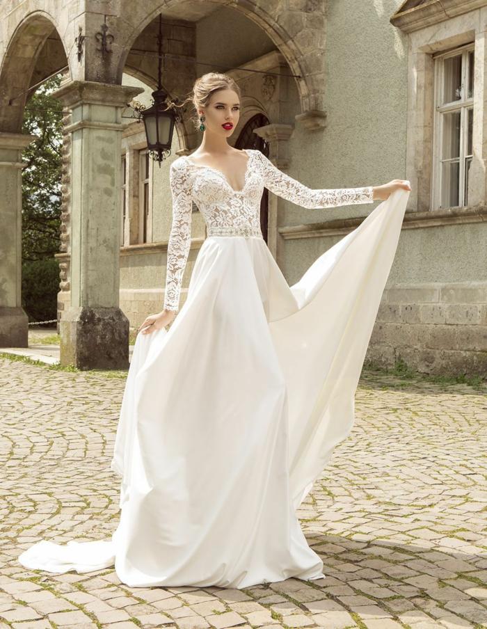 precioso diseño corte princesa en blanco nuclear, cintura alta y parte superior de encaje, vestido novia romantico y elegante