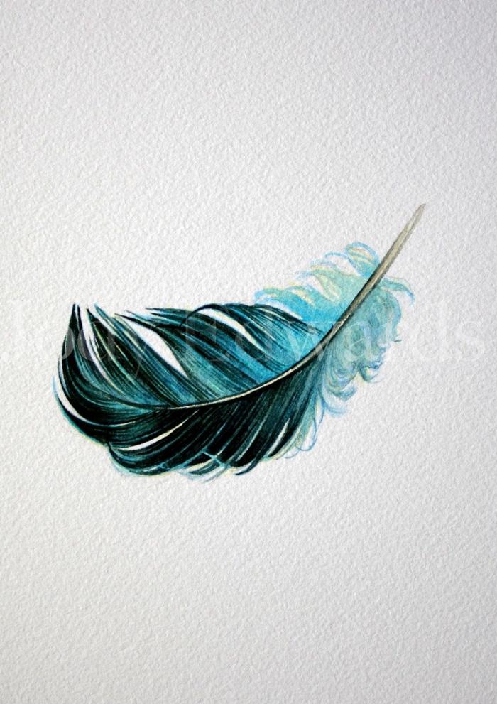 bonito dibujo plumas tatoo, pequeña pluma en verde y negro, bonitas ideas de diseño de tatuajes con mensaje