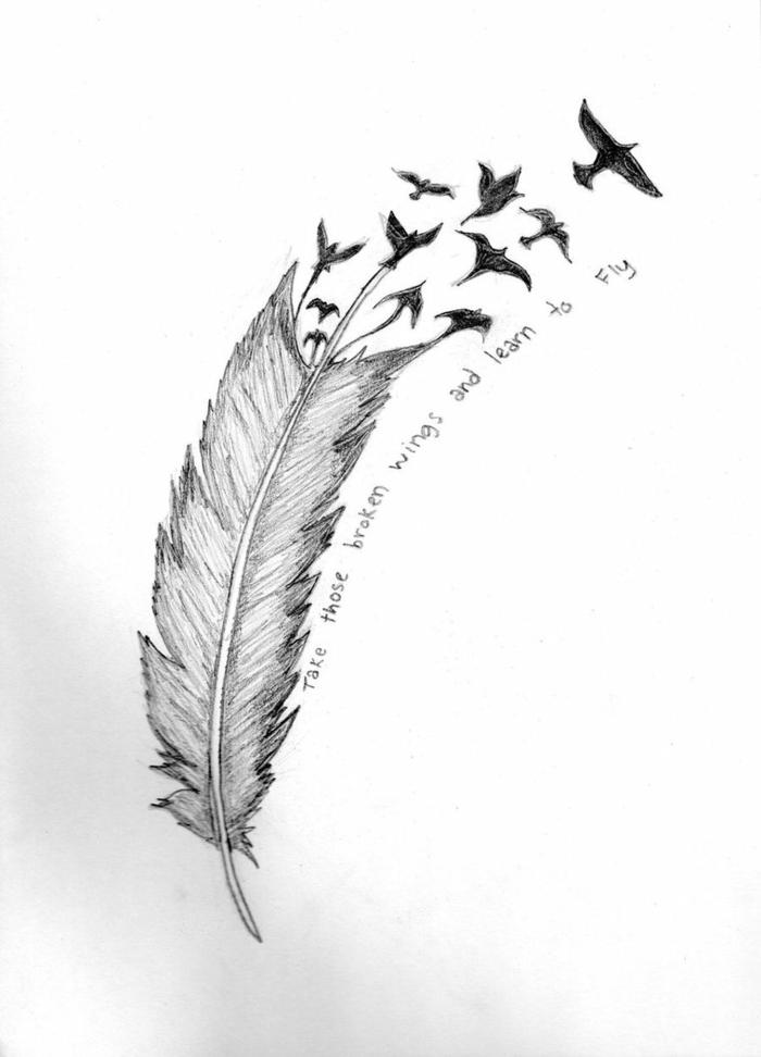 precioso diseño de tatuaje con tinto negro dibujado en papel, plumas tatoo con letras y dibujo de aves