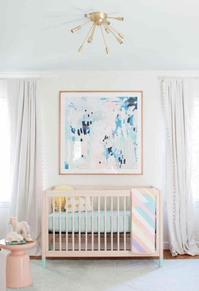 habitacion niñas decorado en colores pastel con grande pintura en la pared, techo pintado en verde menta y detalles en rosado
