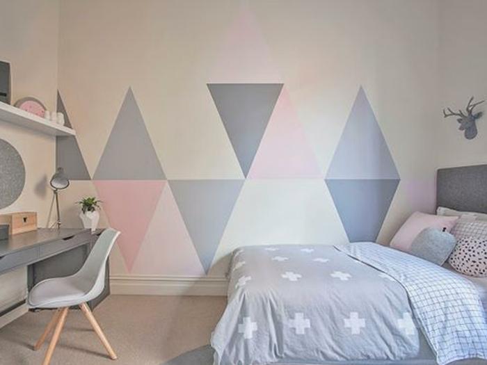 como decorar una habitación infantil en colores pastel, habitaciones de niñas decoradas de manera encantador, decoración minimalista en gris, rosado y blanco