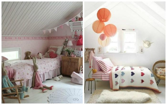 dos habitaciones de niñas de encanto, dormitorios con techo inclinado decorados en blanco con detalles en rosado y preciosa decoración