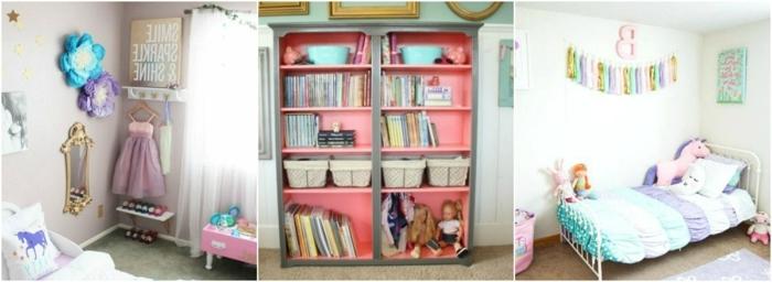 tres ejemplos de decoración de habitaciones infantiles en colores pastel, ideas originales cuartos de niñas