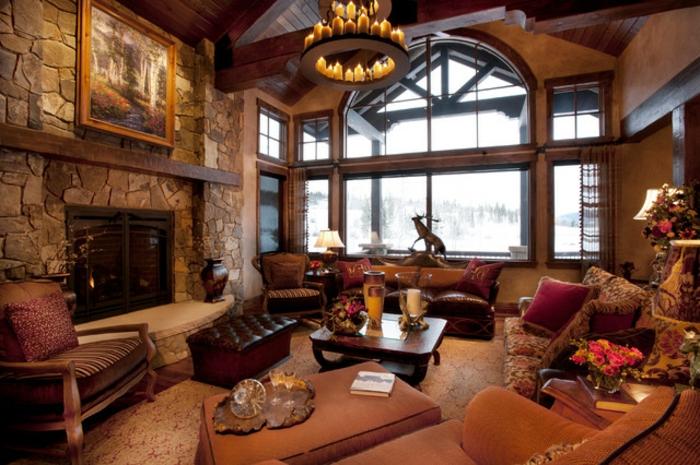 propuestas de decoracion vintage salon, salon acogedor decorado en estilo rustico tradicional en colores cálidos
