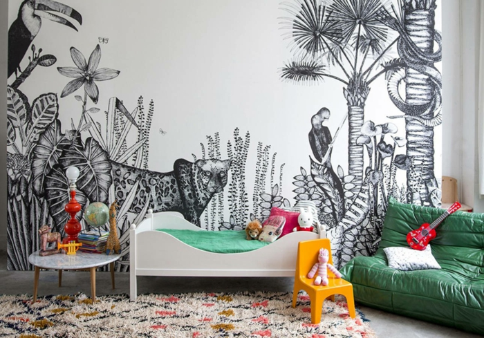 dormitorios de niñas decorados de manera original, papel pintado en la pared con dibujos de animales de la jungla