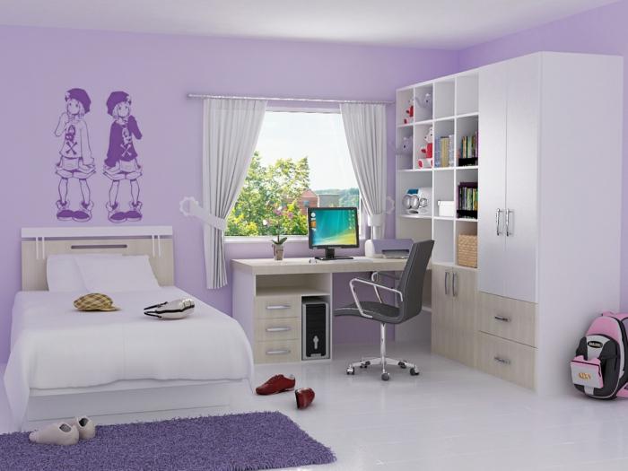 precioso ejemplo de dormitorio juvenil niña pintado en lila, vinilo de pared simpático, cama y armario en blanco y beige