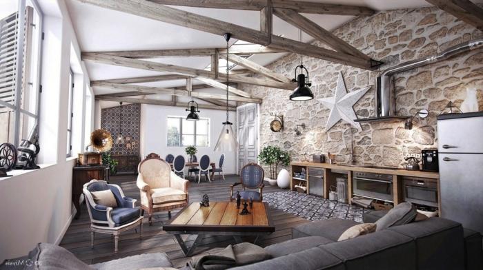 grande salon moderno con elementos rusticos y vintage, paredes de piedra y suelo de parquet, como decorar un salon moderno paso a paso