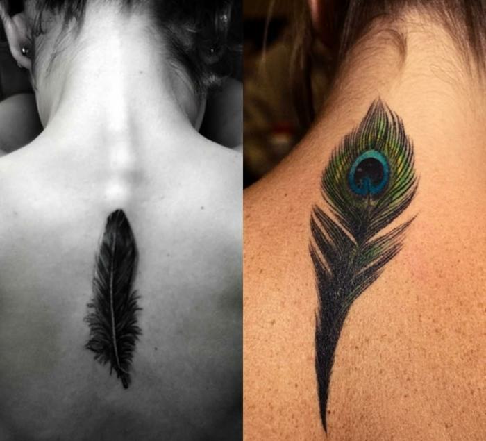 dos diseños de tatuajes con plumas indias bonitos, tatuajes en la espalda, propuestas de tattoos con significado