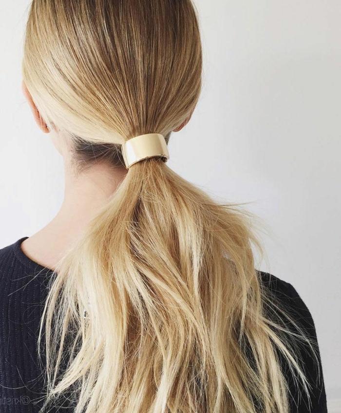 coleta de encanto pelo largo y voluminoso, idea sencilla para ocasiones oficiales, peinados faciles y bonitos paso a paso