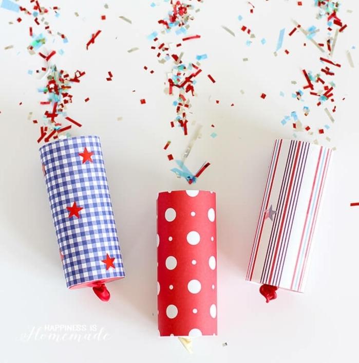 ideas creativas con reciclaje, tuvos de cartón decorados llenos de papel picado, manualidades con tubos de papel higienico