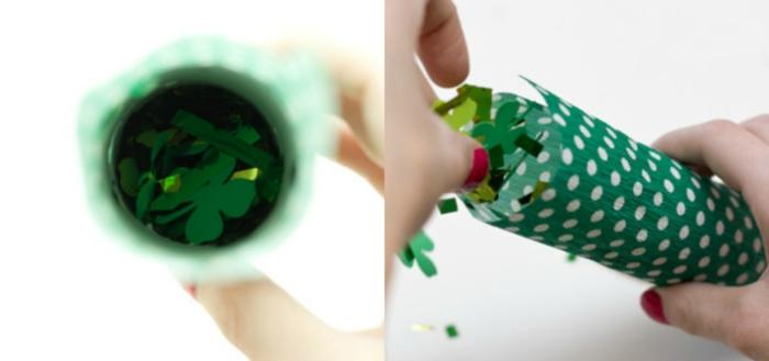manualidades con papel higienico, pasos para hacer tubos con papel picado para decorar una fiesta