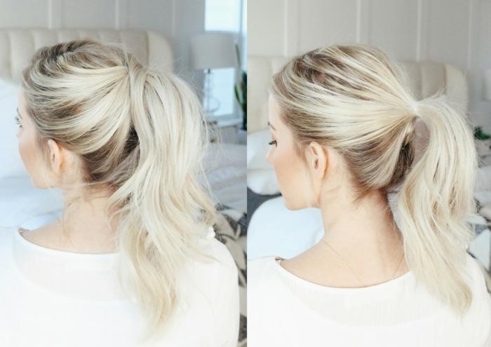 peinados faciles y originales paso a paso, trucos para conseguir una coleta gruesa, ejemplos de peinados con cola alta