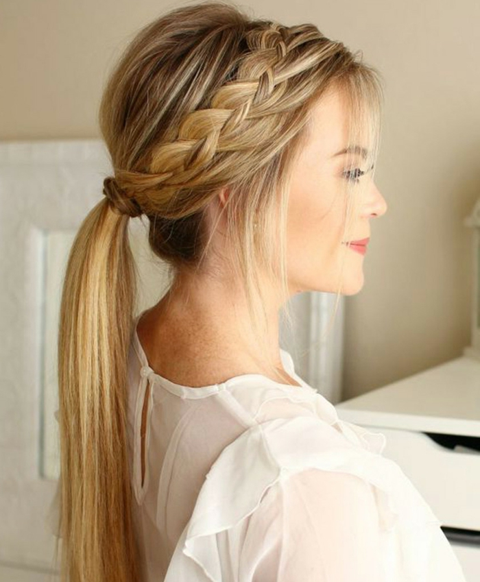 peinados modernos con trenzas, corona de trenza, coleta baja de encanto, ejemplos de peinados paso a paso