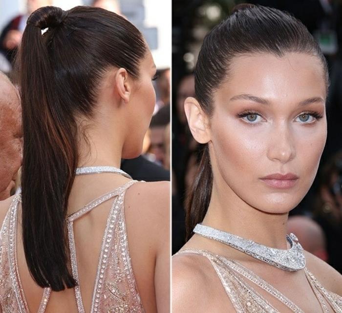 coleta alta y apretada, pelo castaño largo y grueso, ideas sobre como hacer peinados faciles y bonitos para ocasiones oficiales
