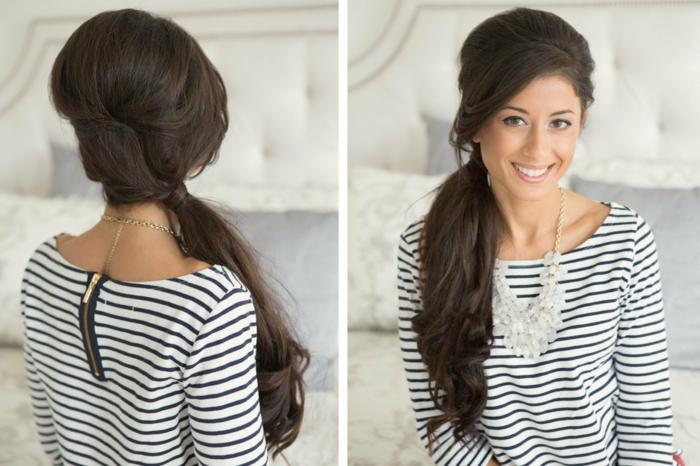 ejemplos de coletas para bodas fáciles de hacer, cabello largo castaño peinado a un lado con rizos rotos