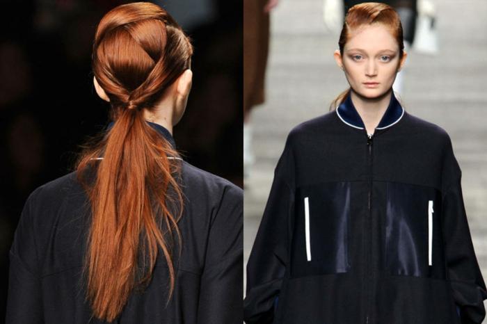 extravagante propuesta de coleta baja con raya lateral, pelo muy largo pelirrojo, tendencias peinados mujer 2018