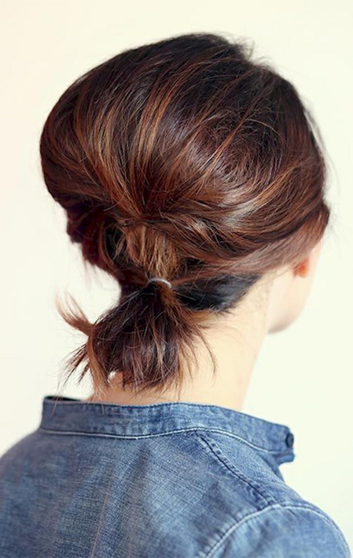 peinados paso a paso, coleta casual pelo muy corto pintado en castaño rojizo, ideas de peinados fáciles y bonitos