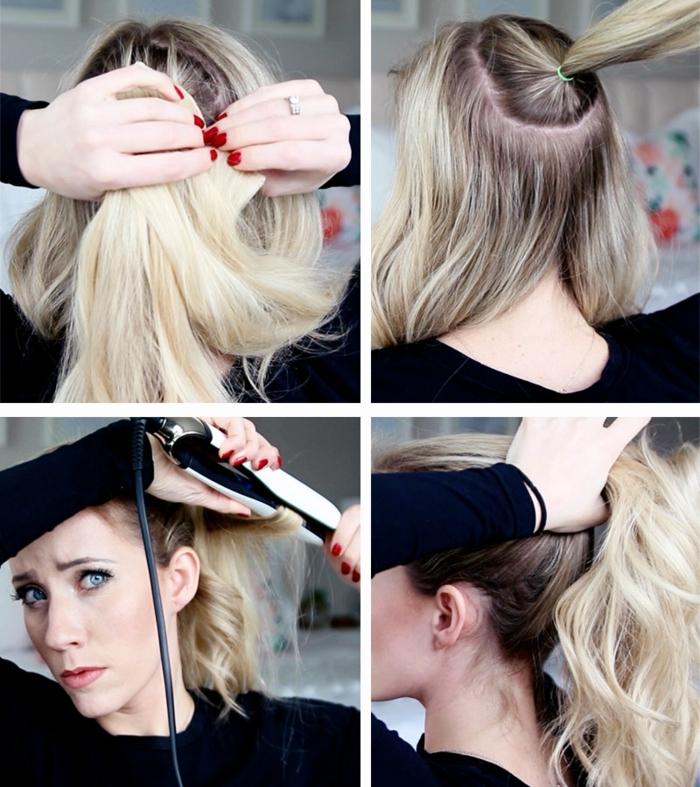 ideas de peinados con cola alta, como hacer una coleta con pelo rizado paso a paso, cabello rizado con plancha