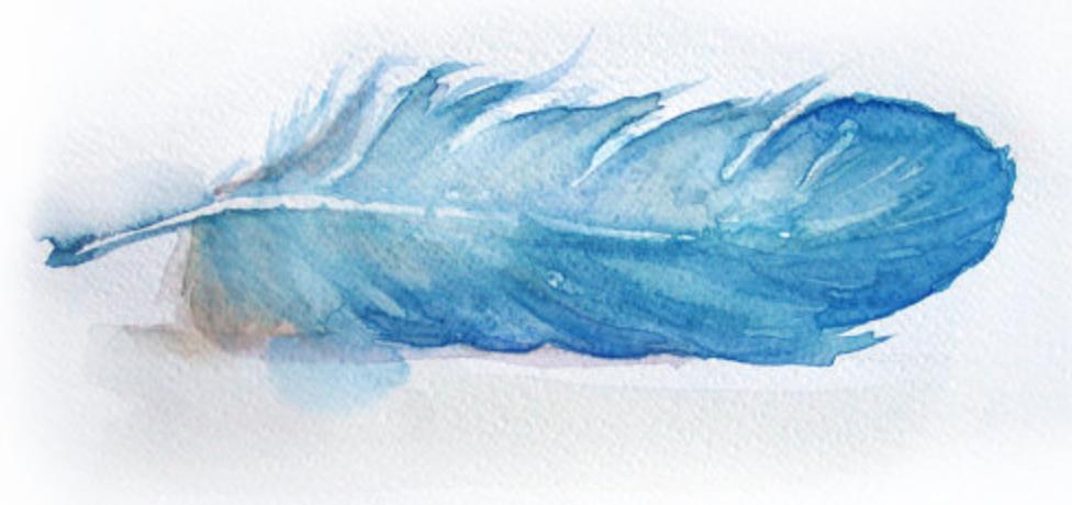 precioso dibujo de pluma en papel para tatuajes con pitura acuarela, ideas de tatuajes bonitos con plumas indias