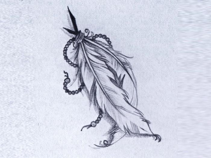 dibujos de plumas indias en papel para tatuajes, ideas de tatuajes con significado tendencias 2018