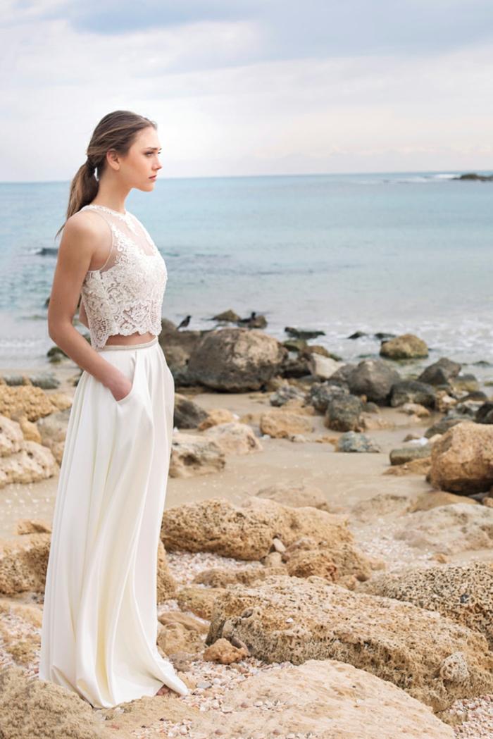 vestidos de novia cortos y largo en dos piezas, parte superior de encaje y falda en pliegues con bolsillos