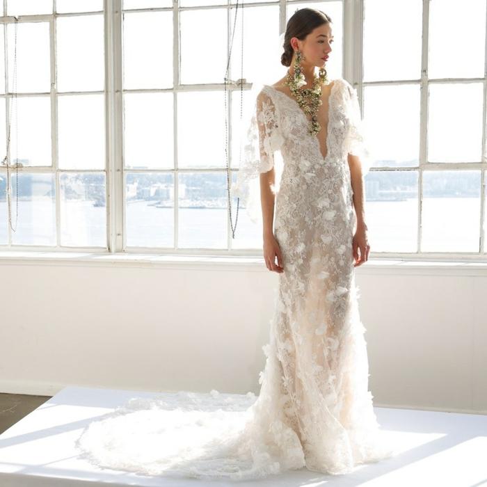 tendencias 218 de vestidos de novia cortos y largos de encaje, precioso diseño con apliques de flores y grandes peldientes