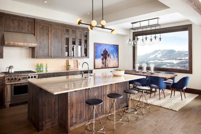 como decorar un salon moderno abierto a la cocina y el salon, espacio moderno con toque rustico en la decoracion