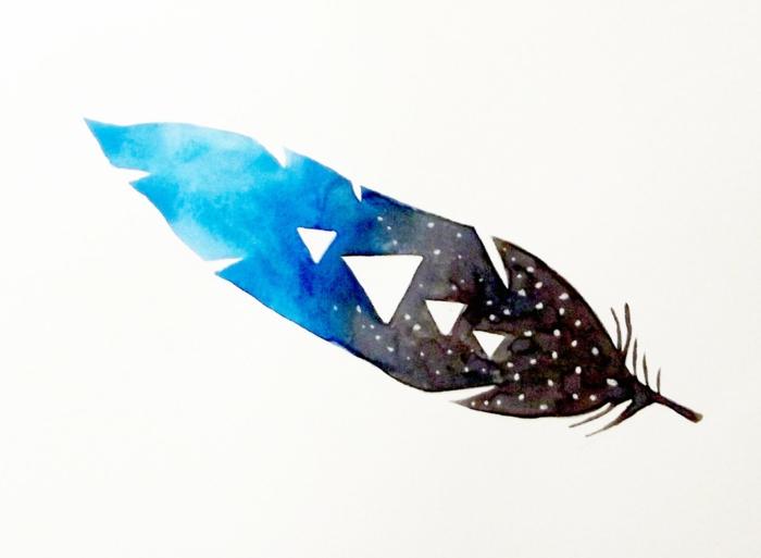 tatuajes con significado modernos en 2018, dibujos de plumas indiaas con pinturas acuarelas, pluma en marrón, azul y blanco