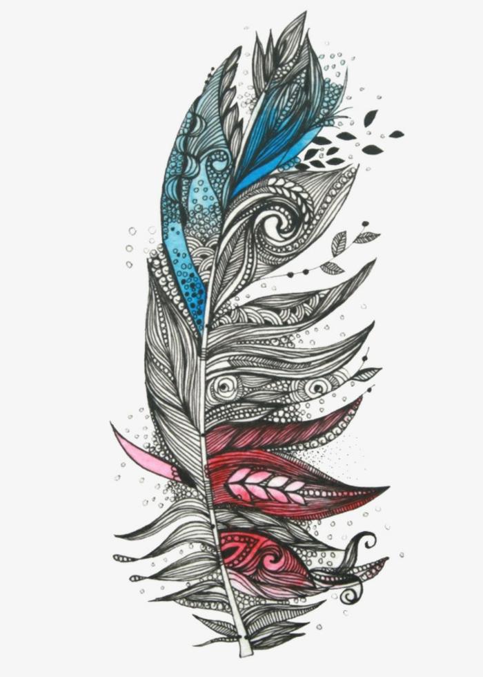 dibujos de plumas indias, tatuaje de encanto en negro con partes en color con pintura acuarela, motivos florales