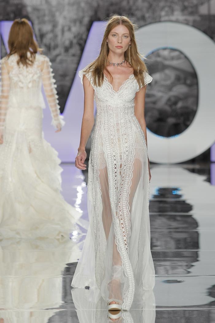 propuestas modernas trajes de novia baratos, vestido de tul y encaje con mangas cortas caíadas