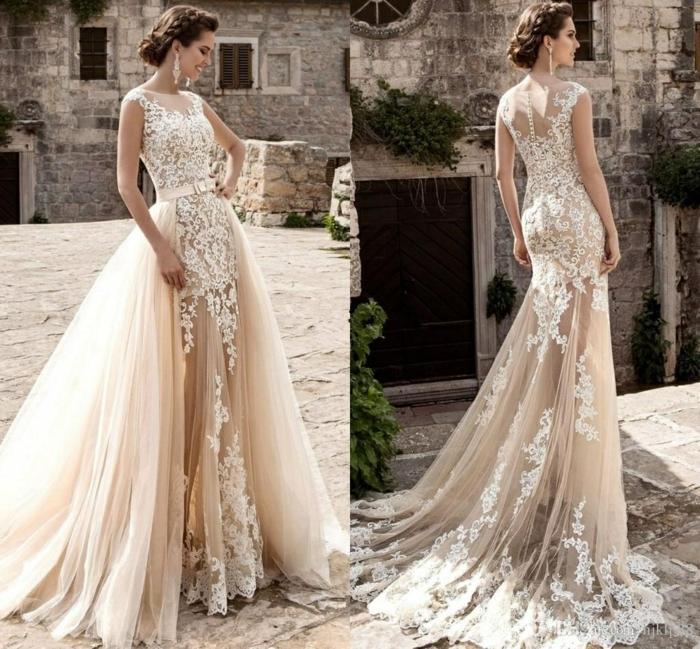 preciosos diseños vestido de novia en color marfil, vestidos adornados de encaje y apliques de flores, trajes de novia baratos