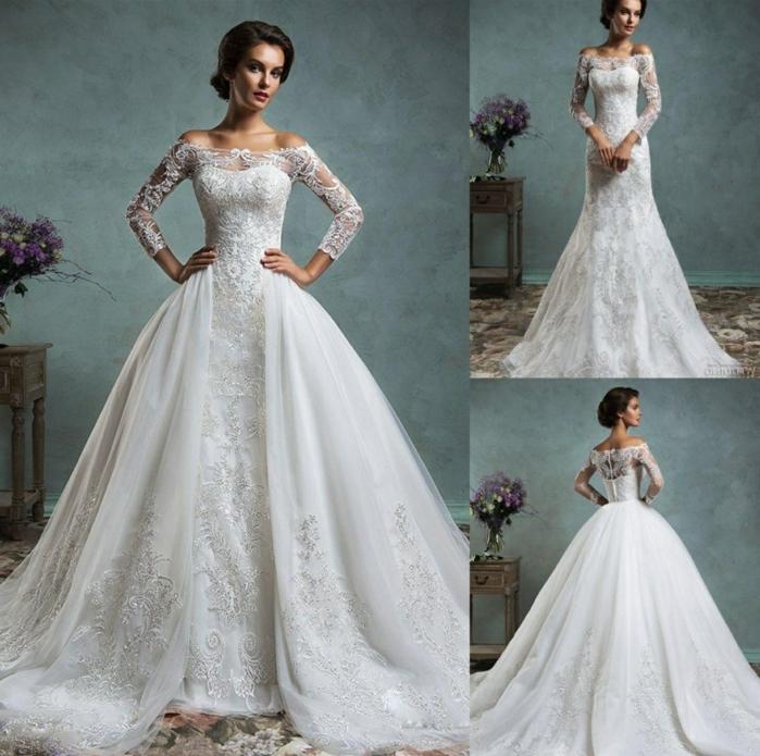 tres diseños de vestidos de novia adornados con encaje, diferentes cortes trajes de novia baratos, tendencias 2018