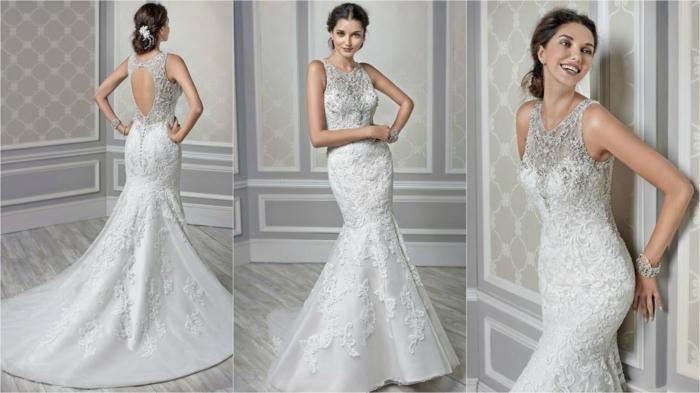 ideas vestido novia informal, vestido de corte princesa en color blanco con parte superior en gris y espalda descubierta