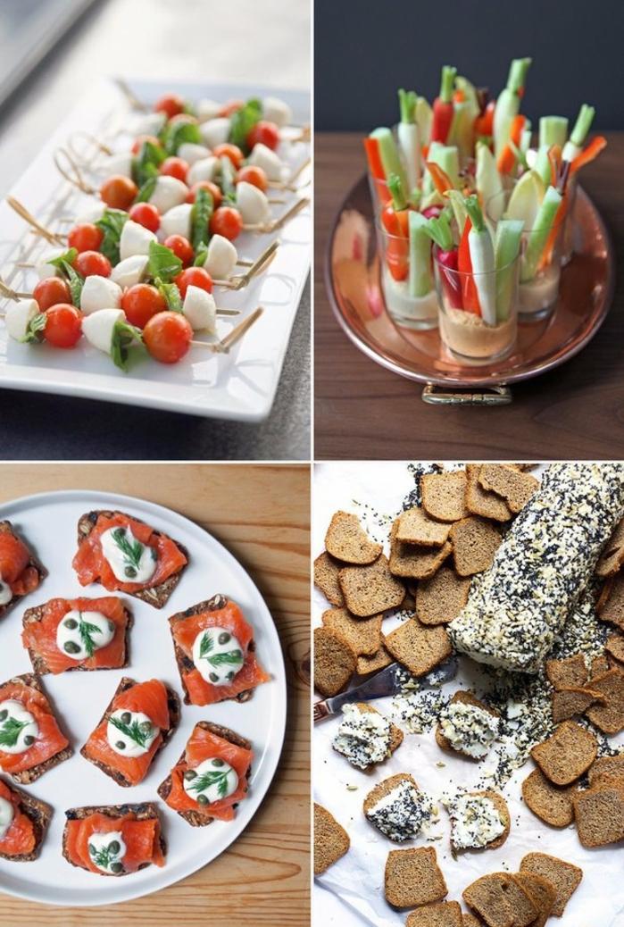 tapas faciles y variedades de entrantes, pinchos con tomates y mozzarella, tostadas con salmón ahumado y queso