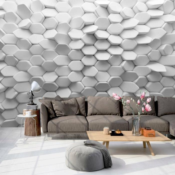 papel pintado con efecto tridimensional, decorar con papel pintado espacios modernos, salón decorado en gris y beige